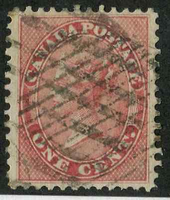 Canada #14 1859-65 1c Rose Cents Issue - VF-76-J Used Example