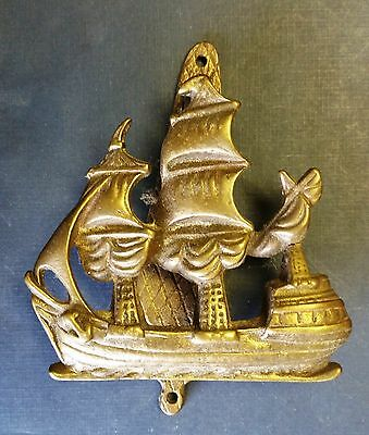 Vintage/Antique Solid Brass GALLEON Ship DOOR KNOCKER - Marine/Nautical