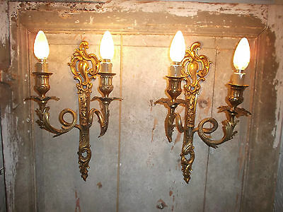French stunning antique  a pair of sconces wall light ornately chateau