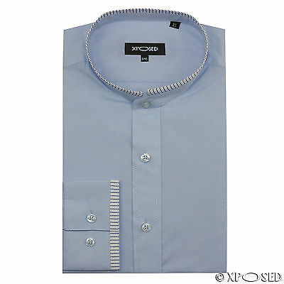 Mens Blue Grandad Collar Slim Fit Smart Casual Long Sleeve Shirt Size S M L XL