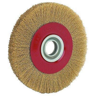 "New 8"" INCH ROUND BRASS PLATED STEEL WIRE BRUSH WHEEL FOR BENCH GRINDER"