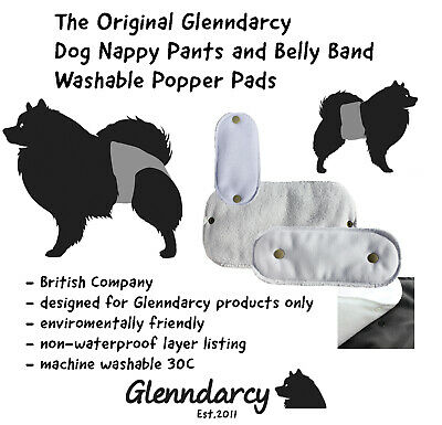 Glenndarcy Washable NON-Waterproof Base Popper Pads for Dog Nappy & Belly Band