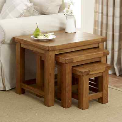 Rustic Oak Nest of 3 Tables - Set Side Lamp Coffee - Living room Furniture RS24