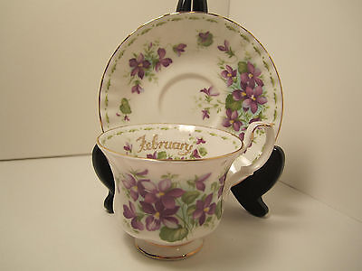 """Royal Albert Eng China Cup & Saucer """"violets February"""" Flower Of Month"""