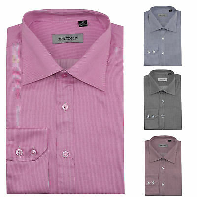 Mens Smart Formal Office Work Long Sleeve Pin Stripes Shirt Grey Pink Red Blue