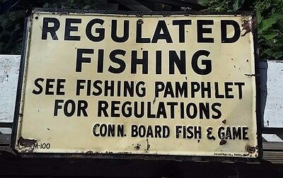 1950s Fishing Tin Sign Connecticut Board of Fish & Game