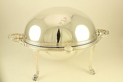 "Antique Plated German Silver 9"" Revolving Breakfast Server Rotating Dome #11249"