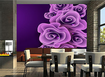 Purple Rose Wall Mural Photo Wallpaper GIANT DECOR Paper Poster Free Paste