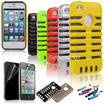 For iPhone 4 /4S Microphone Style Hybrid Impact Phone Hard Case Cover Pen