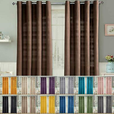 Rajput Ribbed 100% Cotton Ring Top Eyelet Curtain Pair - 9 Colours Available