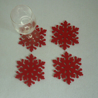 16× Christmas Snowflake Cup Mat Insulating Coaster Dining Kitchen Table Decor