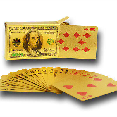 24Kt Gold Foil Playing Cards Usa $100 Usd Note 999.9 Gold Foil Cards Gold