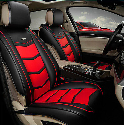 Leather Red Car Seat Covers Set Waterproof Universal Fit For 5 Seater Front Rear