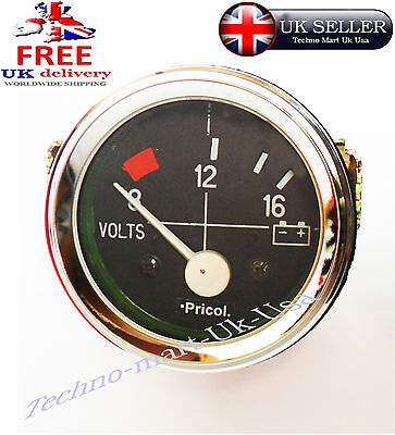 "8-12-16 Bar Car Auto Chrome Volt Voltmeter Voltage Meter Guage Clock 52Mm 2"" Dia"