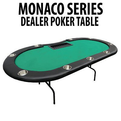 Monaco Series Green Poker Table with Folding Legs with dealers tray