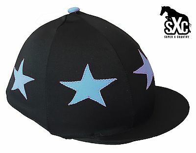 Custom Printed Riding Hat Silk Skull Cover Black With Light Blue Stars Pompom