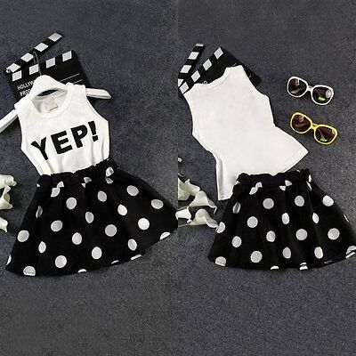 2PCS Toddler Kids Baby Girls Clothes Letter Vest T-shirt +Skirt Dress Outfit Set