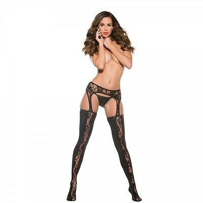Kitten Lace and Wet Look Garter Tights 4-Way Stretch