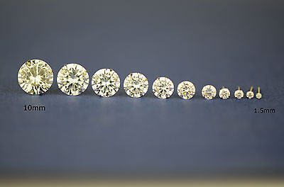 14k White gold round bright clear cubic zirconia prong set stud earrings1.5-10mm