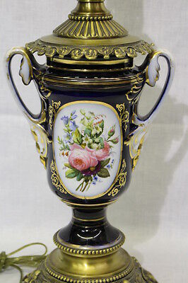 """Circa 1900 Sevres Style Handpainted Urn Mounted as a 21"""" Table Lamp"""