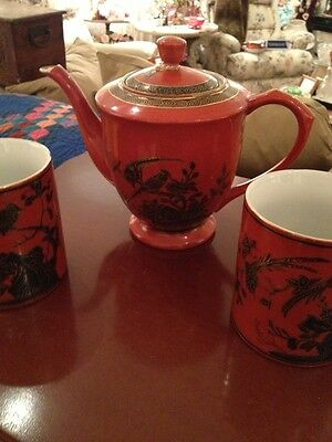 Asian AntiqTea Pot Two Cups Very Old Set Nice Two Different Marks Stunning
