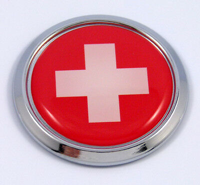 Switzerland Swiss Round Flag Car Chrome Decal Emblem bumper Sticker bezel badge