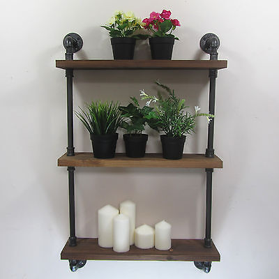 Urban Retro Industrial Iron Pipe Shelving Shelves Natural Wood 3 Tiers Shelf