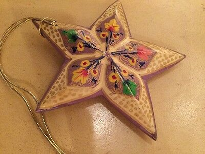 Star Vintage Russian Hand-Painted Wooden Star Folk Art