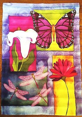 "Large 26"" X 38"" SPRING Summer FLOWERS Decorative Garden Flag Lilly Butterfly"