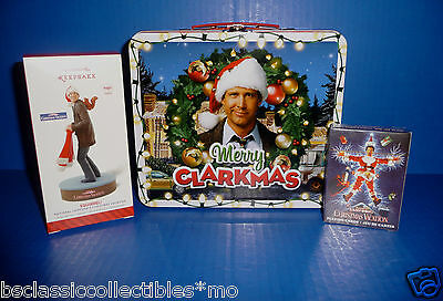 National Lampoon's Christmas Vacation Tin Lunch Box+Clark Ornament+Playing Cards