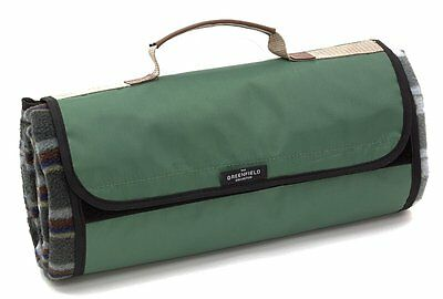 Greenfield Collection Lightweight Fully Lined Picnic Blanket - Green - UK SELLER