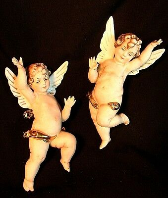 Large Porcelain Cherubs Angles *clip On* True Pair * Real Cuteies!! Antique