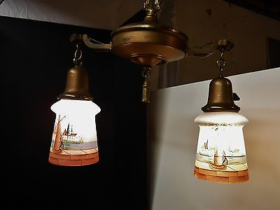 Art Deco Brass 2 LIGHT HANGING FIXTURE + Canopy & GREAT Painted Scene Shades
