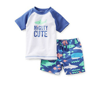 Carters Boy 2PC MIGHTY CUTE Rash Guard Sun Protection SwimWear Trunk~Top Set NWT