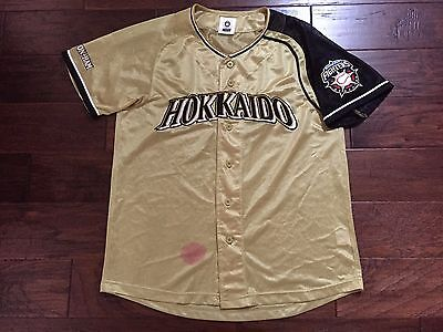 Hokkaido Nippon Ham Fighters Jersey Shirt Sz Mens Medium Vintage Gold