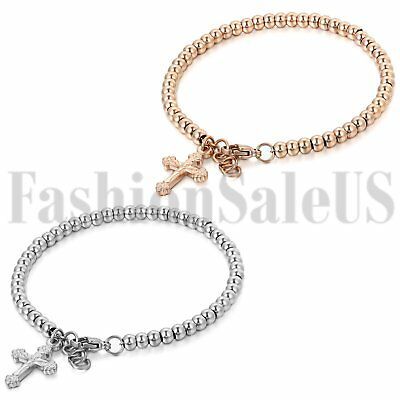 Women's Rose Gold/Silver Stainless Steel Jesus Cross Dangle Beads Chain Bracelet