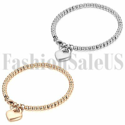 Women's Ladies Stainless Steel Charm Heart Dangle Beaded Chain Bracelet Bangle