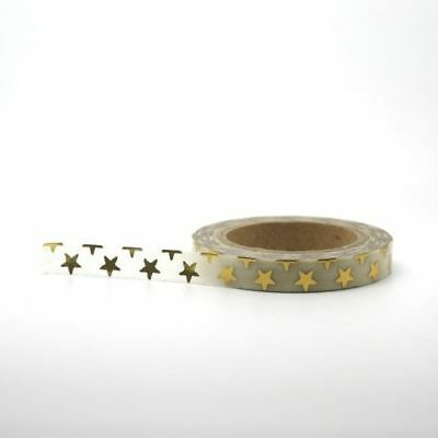 Foil Washi Tape - Slim Skinny Gold Foil Stars 7.5mm x 10m Beautiful