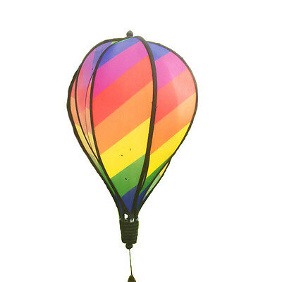 Rainbow Hot Air Balloon Wind Spinner Multi-Colored Striped Windsock Garden Decor