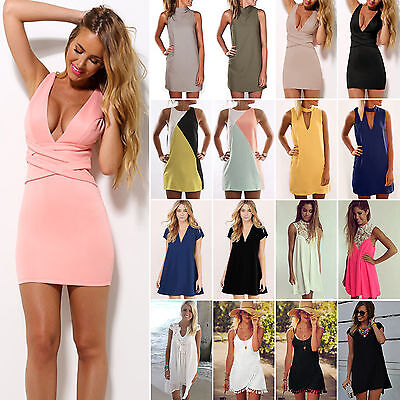 Women Sexy Party Evening Cocktail Short Mini Dress Summer Beach Bodycon Sundress