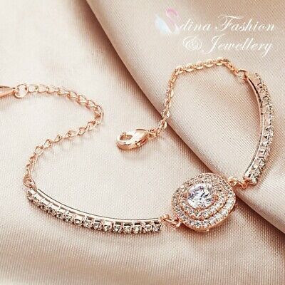 18K White & Rose Gold Plated Made With Swarovski Element Double Halo Bracelet