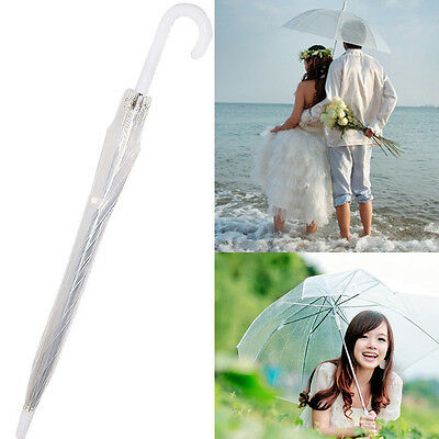 Windproof Transparent Clear Automatic Umbrella Parasol For Wedding Party Favor