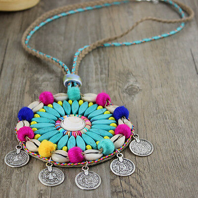 2016 New Ethnic Handcraft Jewelry Green Turquoise Silver Coin necklaces Pendants
