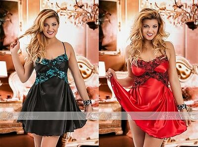 Black Red Satin Slip Babydoll Lace Plus Size Nightdress 8-22 Chemise Floral 040