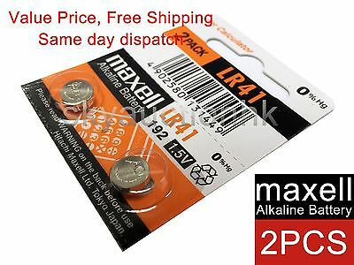 2x Maxell LR41 192 A63 AG3 384 1.5V cell coin button CALC battery Japan 12-2022