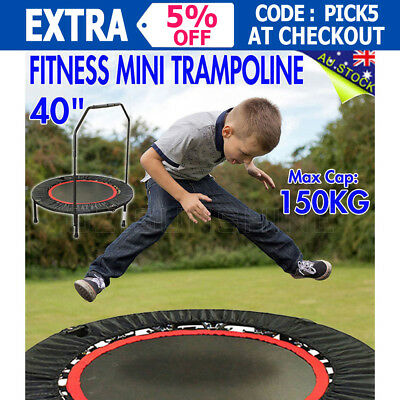 "40"" MiNi Trampoline Handrail Exercise Workout Cardio Indoor Super Load Outdoor"