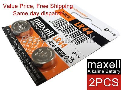 2x Maxell LR44 A76 AG13 D76A 1.5V cell coin button CALC battery Japan Ed 12-2022
