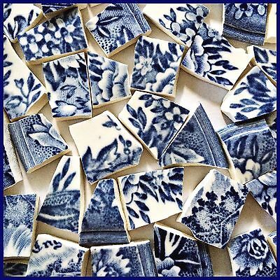 "65 BROKEN CHINA MOSAIC TILES~ 1/2"" Navy BLUE Flower LACE"
