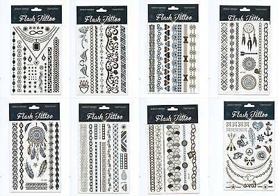 6 x Einmal Tattoo Temporary Tattoo Body Schmuck Gold Silber SET 016-032