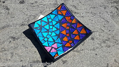 Multi Coloured Mosaic Candle Plate Colourful Rainbow Glass Candle Holder
